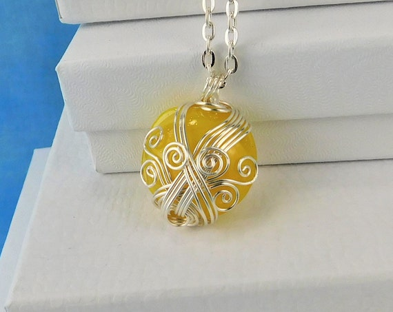 Yellow Wire Wrapped Glass Necklace, Unique Handcrafted Artistic Jewelry Gift, Artisan Crafted Wearable Art Christmas Present Ideas for Women