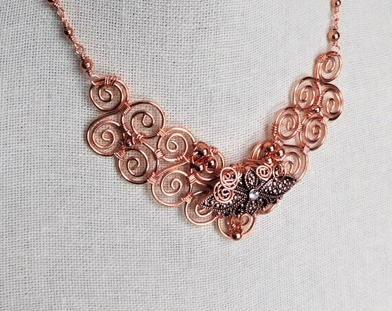 Artistic Copper Scroll Work Bib Necklace Wire Wrapped Statement Jewelry, One of  a Kind Artisan Crafted Wearable Art Present for Wife or Mom