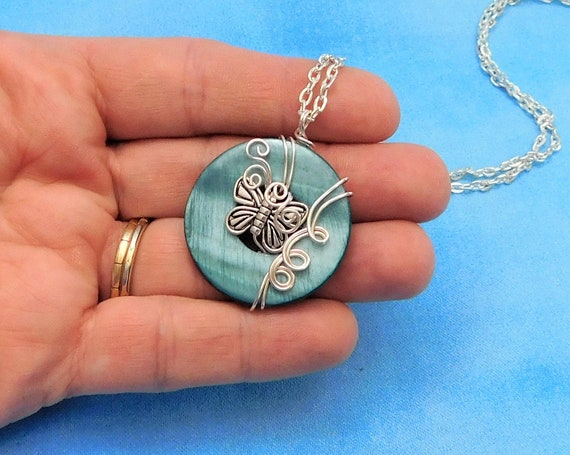 Artistic Wire Wrapped Silver Butterfly Necklace, Unique Artisan Crafted Pendant, One of a Kind Wearable Art Jewelry Present for Women