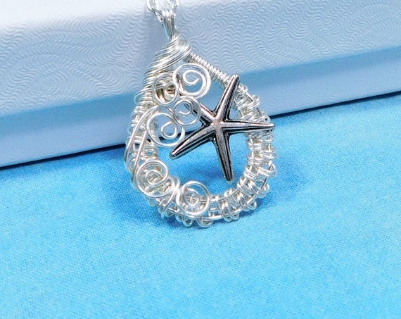 Artistic Starfish Necklace, Unique Artisan Crafted Beach Pendant, Wire Wrapped Sea Life Ocean Theme Jewelry, One of a Kind Wearable Art