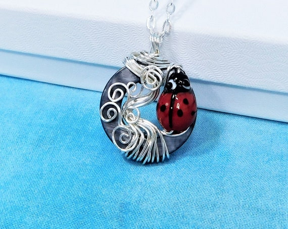 Wire Wrapped Mother of Pearl Ladybug Necklace, Artistic Insect Theme Jewelry, Fun Ladybug Good Luck Pendant for Women