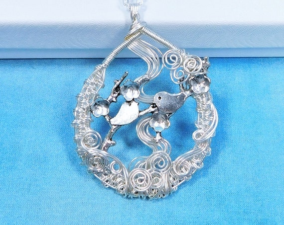 Two Birds on a Limb Bird Necklace, Bird Family Theme Jewelry, Artistic Bird Pendant Anniversary or Birthday or Mother's Day Present for Wife