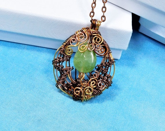 Wire Wrapped Green Jade Pendant, Woven Copper Gemstone Necklace, Unique Wearable Art 35th Anniversary Gift or Birthday Present for Wife