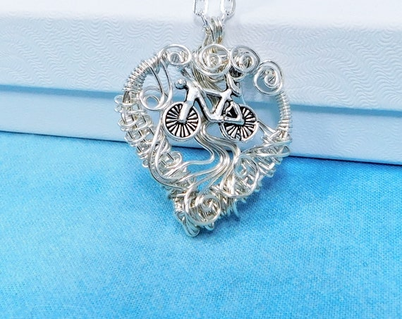 Handmade Heart Shaped Bicycle Pendant, Artistic Bike Necklace Unique Cycling Jewelry for Wife or Girlfriend, Present for Women Who Cycle
