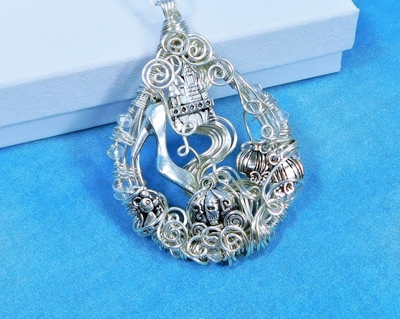 Cinderella Necklace Unique Fairytale Pendant, Artistic Woven Wire Wrapped Jewelry, One of a Kind Wearable Art Handcrafted Present for Women
