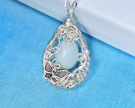 Wire Wrapped Aquamarine Pendant, Artistic March Birthstone Necklace, Gemstone Wearable Art Butterfly Jewelry Mother's Day Gift for Mom