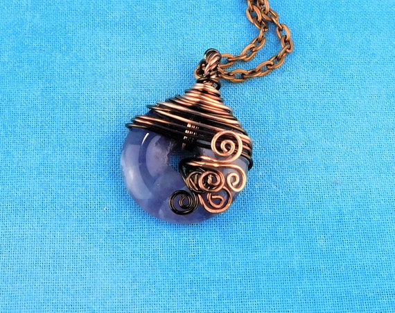 Copper Wire Wrapped Amethyst Donut Pendant, February Birthstone Necklace Birthday Present, Gemstone Jewelry 7th Anniversary Gift for Wife