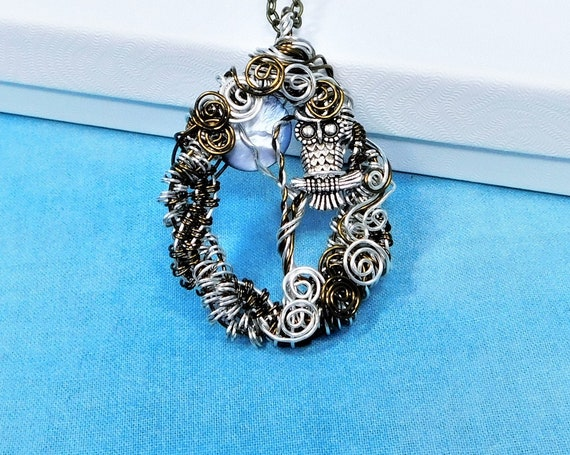 Woven Wire Wrapped Owl Necklace, Artistic Moon and Tree Pendant, Artisan Crafted Wearable Art Lunar Jewelry Birthday, Anniversary Present