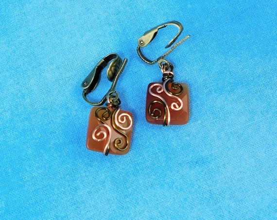 Copper Wire Wrapped Clip On Carnelian Earrings, Non pierced Gemstone Dangles, Wearable Art Jewelry Birthday Present or Anniversary Gift
