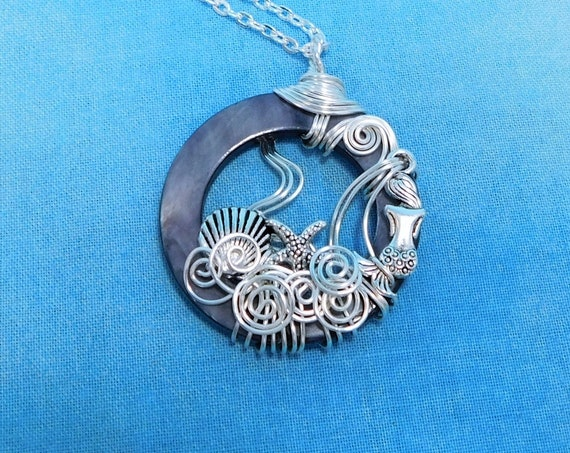 Artistic Mermaid Necklace, Unique Artisan Crafted Under the Sea Beach Theme Pendant, Silver Wire Wrapped Handmade Wearable Art Jewelry Gift