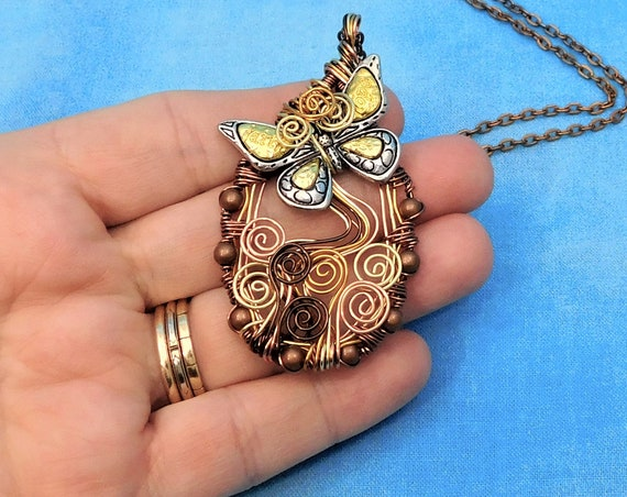 Unique Artistic Butterfly Pendant. Artisan Crafted Wire Wrapped Necklace , Handmade Wearable Art Jewelry Memorial Bereavement Gift for Women