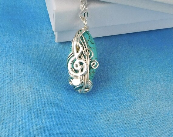 Treble Clef Pendant Music Lover Necklace, Music Teacher Gift Ideas, Musical Staff Jewelry, Artistic Handmade Wearable Art for Musician