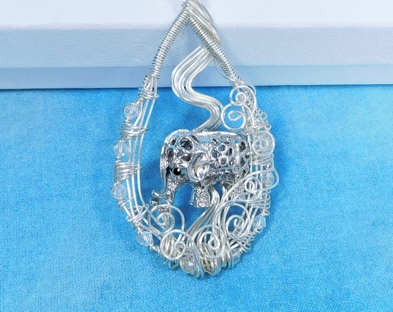 Elephant Necklace, Artisan Crafted Pendant for Animal Lover Gift, Wearable Art Pachyderm Theme Jewelry for Women Who Love Elephants