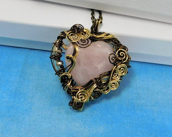 Large Rose Quartz Heart Necklace, Gemstone Heart Pendant, Wire Wrapped Stone Jewelry, Wearable Art Birthday Present or Anniversary Gift