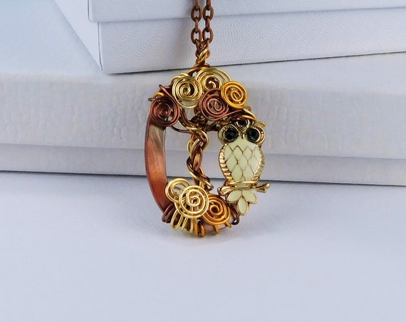 Artisan Crafted Owl Necklace, Unique Copper Wire Wrapped Sculpted Owl in Tree Pendant, Artistic Handmade Wearable Art Jewelry