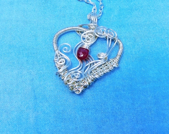 Woven Wire Wrapped Ruby Heart Necklace, Artistic Genuine Gemstone July Birthstone Pendant, Romantic Artisan Crafted Wearable Art Jewelry