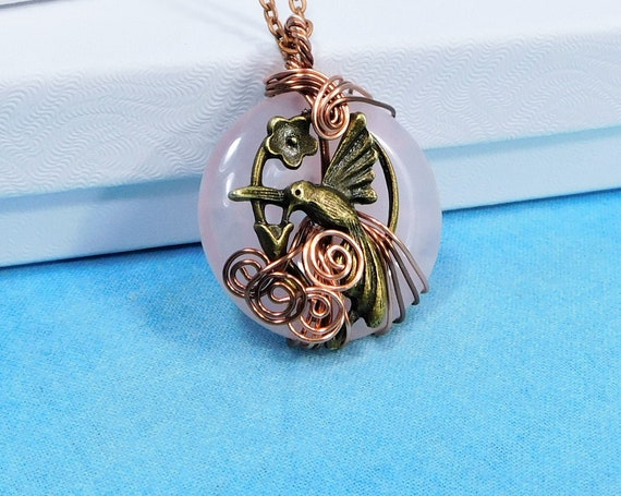 Wire Wrapped Rose Quartz Pendant, Artisan Crafted Hummingbird Necklace, Wearable Art Memorial Jewelry Bereavement Present or Sympathy Gift