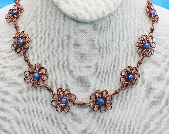 Copper Flower Necklace, Unique Artisan Crafted Sculpted Wire Wrapped Jewelry, One of a Kind Artistic Handmade Wearable Art Present for Wife
