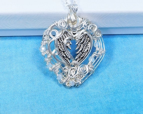 Artistic Angel Wings Necklace, Wire Wrapped Blue Crystal Heart Pendant, Artisan Crafted Memorial Jewelry Present for Sympathy Gift for Women