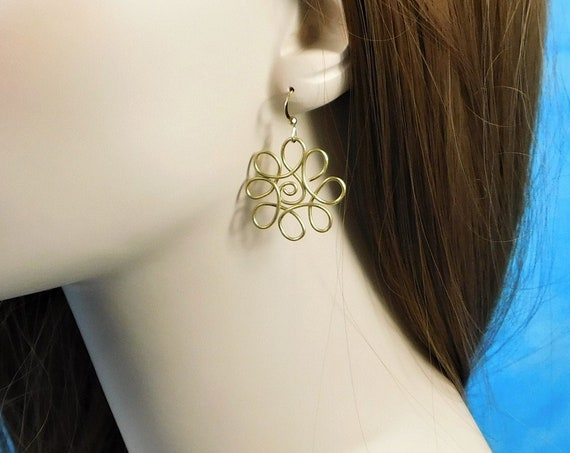 Wire Flower Pierced Earrings, Unique Sculpted Wire Jewelry, Handmade Brass Flower Dangles, Artisan Crafted Wearable Art Anniversary Gift