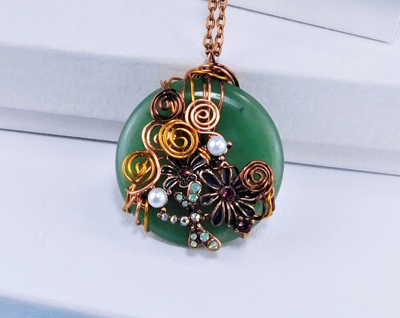 Unique Copper Wire Wrapped Green Jade Pendant, Dragonfly Flower Gemstone Necklace, Artisan Crafted Wearable Art Jewelry Present Idea for Mom