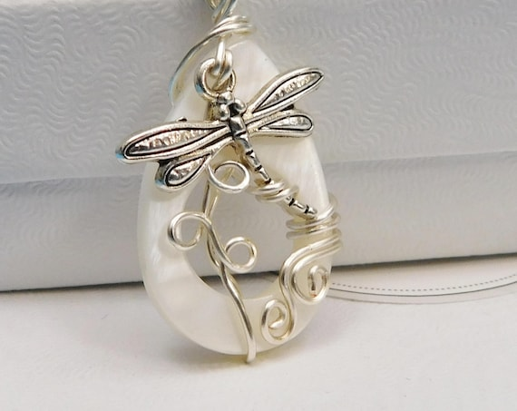 Dragonfly Necklace Unique Artistic Wire Wrapped Artisan Crafted Wearable Art Jewelry Handmade Present Ideas for Mother in Law Gift for Women