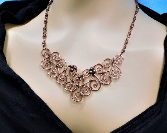 Artisan Crafted Copper Statement Necklace, Unique Wire Wrapped Jewelry, Artistic Handcrafted 7th Anniversary Gift for Wife or Girlfriend