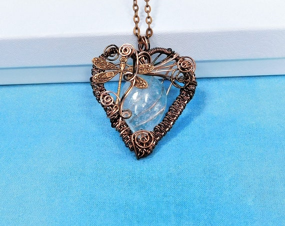 Copper Wire Wrapped Aquamarine Necklace Artistic Dragonfly Heart Birthstone Pendant Gemstone Jewelry March Birthday Present or Sympathy Gift