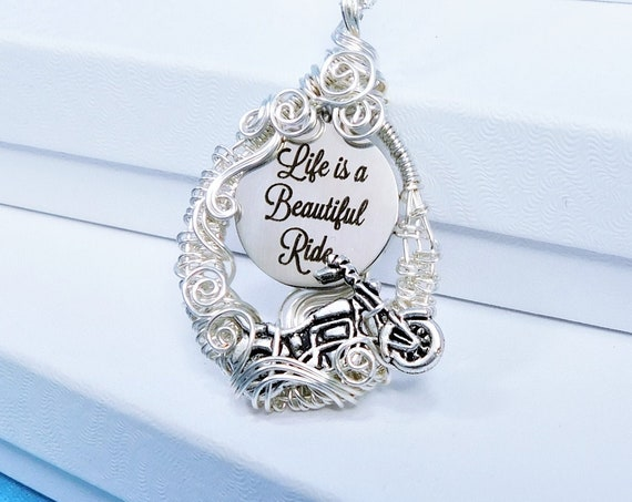 Life is a Beautiful Ride Necklace Unique Biker Chick Motorcycle Gifts for Women, Wire Wrapped Wearable Art Jewelry Present for Girlfriend