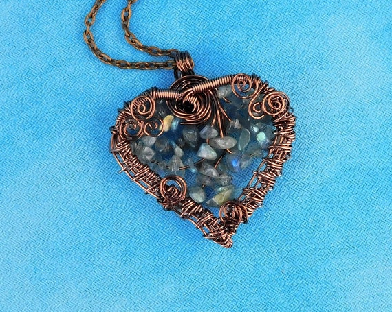 Artistic Woven Wire Wrapped Labradorite Necklace, Beaded Copper Heart Pendant with Genuine Gemstones, Wearable Art Jewelry Gift for Wife