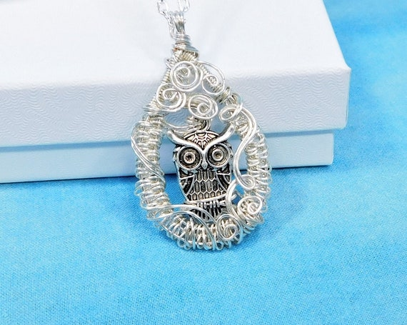 Artistic Owl Necklace, Artisan Crafted Woven Wire Wrapped Bird Theme Pendant, Unique Handmade Wearable Art Jewelry Present for Women