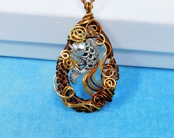 Artisan Crafted Fish Necklace, Unique Woven Copper Wire Wrapped Artistic Koi Pendant, Wearable Art Jewelry Birthday Present for Women