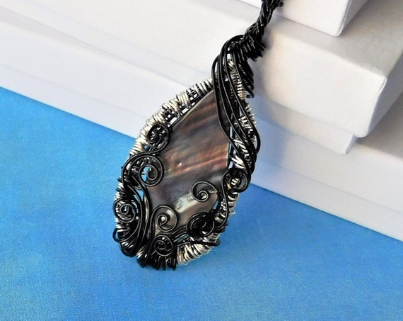 Large Shell Necklace, Unique Wire Wrapped Black Lip Shell Pendant, Artisan Crafted, Artistic Handmade, Wearable Art Statement Jewelry