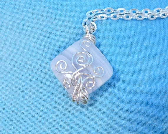 Wire Wrapped Blue Lace Agate Necklace, Artisan Crafted Gemstone Pendant, Artistic Handmade Wearable Art Jewelry Present for Wife or Mom