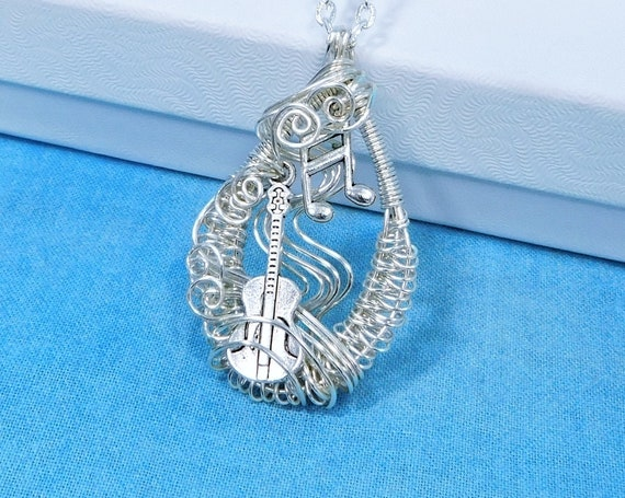 Woven Wire Acoustic Guitar Necklace, Music Theme Pendant Gift for Guitar Teacher or Musician, Jewelry Present for Guitarist