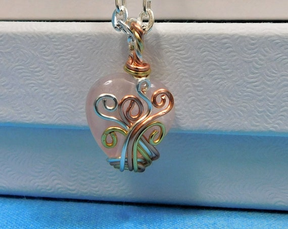 Rose Quartz Heart Necklace, Unique Wire Wrapped Pink Gemstone Pendant, Handcrafted Wearable Art Jewelry Birthday Present for Wife or Mom
