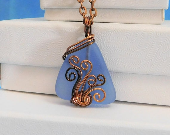 Sea Glass Necklace Gift for Girlfriend Unique Wire Wrap Blue Glass Artisan Crafted Pendant Wearable Art Present for Women Mother in Law Gift