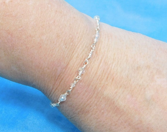 Dainty Crystal Bracelet, Unique Wire Wrapped Jewelry, Artisan Crafted Wearable Art Present for Mom or Best Friend Bracelet