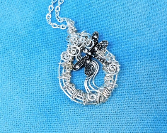 Artistic Silver Dragonfly Necklace, Unique Wire Wrapped Jewelry, Artisan Crafted Bereavement Present, Wearable Art Pendant Sympathy Gift