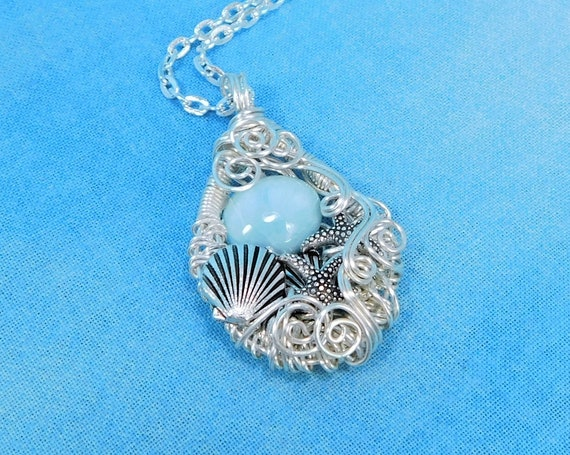 Woven Wire Wrapped Larimar Pendant Gemstone Necklace with Shells and Starfish, Ocean Theme Jewelry Birthday or Anniversary Gift for Women