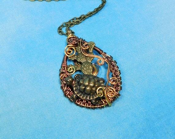 Woven Copper Desert Tortoise Necklace, Artistic Handmade Wire Wrapped Turtle Pendant, Desert Theme Wearable Art Jewelry for Women