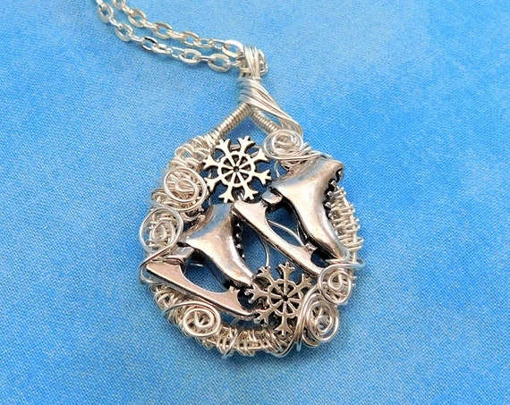 Ice Skate Theme Snowflake Necklace Winter Sports Jewelry, Artisan Crafted Unique Wire Wrapped Artistic Wearable Art Pendant Present Ideas