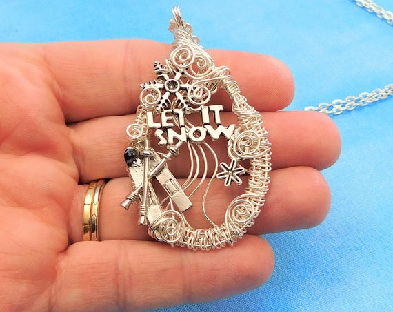 Ski Jewelry Snowflake Necklace Snow Sports Skiing Theme Winter Pendant, Artisan Crafted Unique Woven Wire Wrapped Wearable Art Present Idea