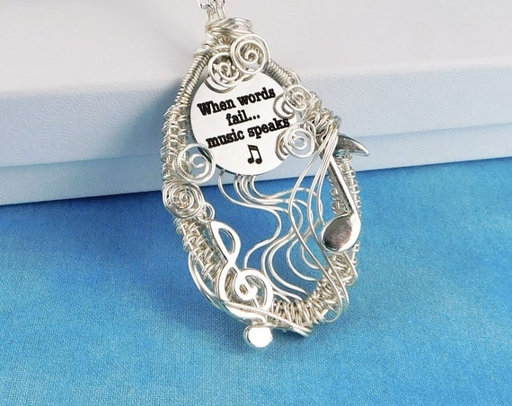 Music Note Necklace Teacher Gift, Unique Necklace for Wife, When Words Fail Music Speaks, Musician Theme Pendant OOAK Present Idea for Women