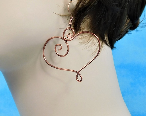 Large Heart Earrings, Artisan Crafted Sculpted Copper Wire Jewelry, Wearable Art Romantic 7th Anniversary, Christmas or Birthday Present