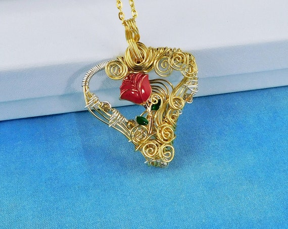 Artistic Red Rose Necklace, Goldtone Wire Wrapped Heart Pendant, Artistic Handmade Romantic Anniversary Present for Wife or Girlfriend Gift