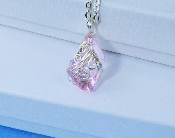 Wire Wrapped Pink Swarovski Crystal Necklace, Unique Artistic Handmade Pendant, One of  Kind Wearable Art Jewelry Mother's Day Present
