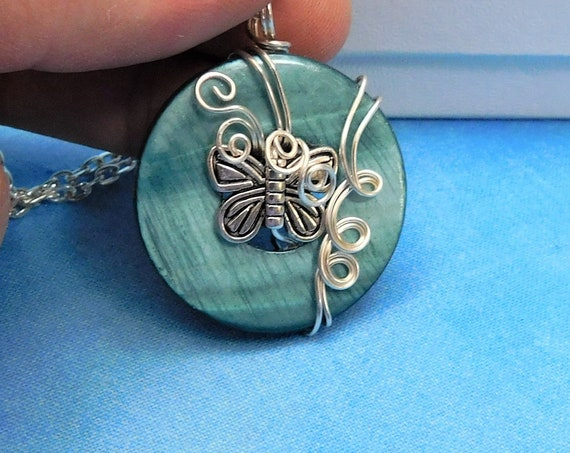 Artistic Wire Wrapped Silver Butterfly Necklace, Unique Artisan Crafted Pendant, One of a Kind Wearable Art Jewelry Present Ideas for Women