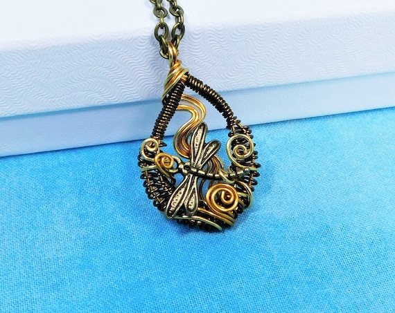 Dragonfly Necklace Artisan Crafted Memorial Pendant, Artistic Wire Wrapped Remembrance Jewelry, One of a Kind Wearable Art Sympathy Gift