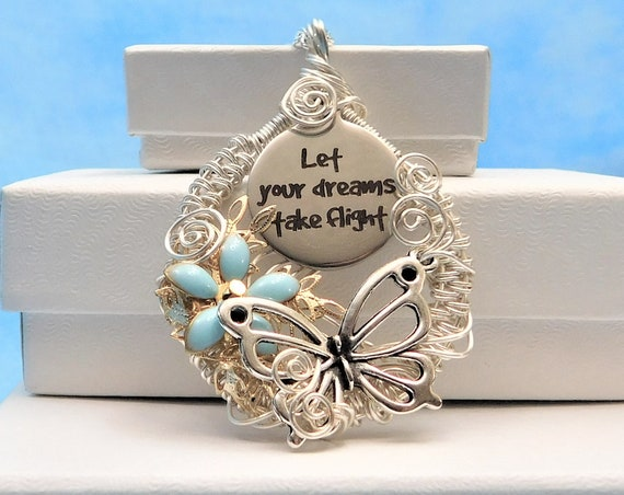 Woven Wire Wrapped Silver Butterfly Necklace, Let Your Dreams Take Flight Pendant, Unique Artisan Crafted Handmade Artistic Jewelry Present